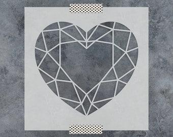 Geometric Heart Stencil - Reusable DIY Craft Stencils of a Geometric Heart