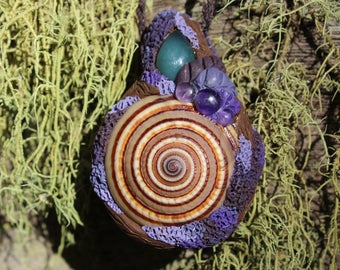 Jade crystal, Amethyst, Polymer Clay, Tribal forest Hand Made Pendant.