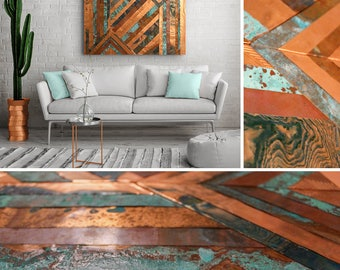 Embossed Copper Chevron Wall Art