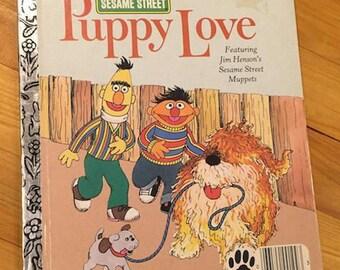Little Golden Book, Sesame Street Puppy Love, 1983, Vintage Children's Book