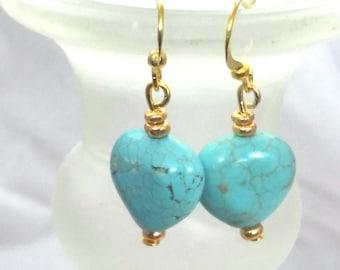 Turquoise Heart Gemstone Earrings
