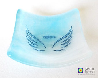 Glass angel bowl, symbol of love, blue and white glass dish, tea light candle holder, water element, angelic gift, earring dish, tealight