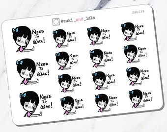 WAX HAIR Planner Stickers, Hair Remover Planner Stickers, Wax Appointment Planner Stickers (SAL139)