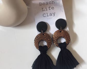 Rose Gold black TASSEL earrings black surgical steel posts original design Beach Life Clay statement dangles