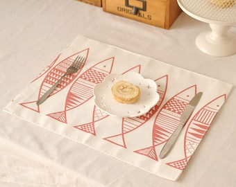 Set of 2 Premium Fish Print Japanese Style Quilted Placemats Perfect for Dinning Table