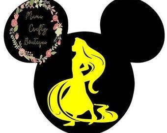 Rapunzel Silhouette MIckey Head SVG