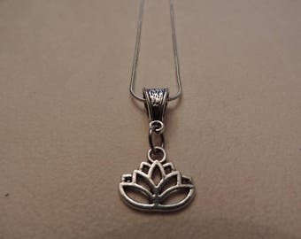 Lotus Flower, snake chain necklace