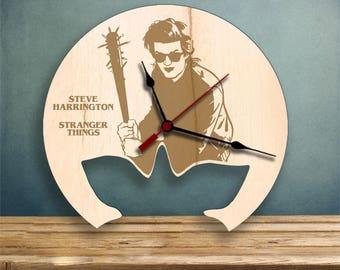 Steve Harrington clock, Stranger Things Wood Clock, Gifts for Her, Gifts for Him