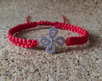Macrame Bracelet 925 Silver Red Passion Flower Charms 925 Silver size adjustable with cubic zirconia