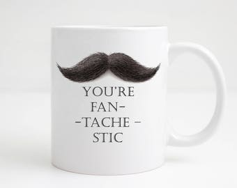 Mug For Him - Mustache Mug - Gift For Him -  - Stocking Filler - Secret Santa - Hipster Mug - Hipster Gift - Hipster