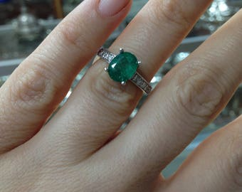 Emerald and Diamond Ring, Oval Shaped Emerald Ring, Diamonds  and Emerald Ring