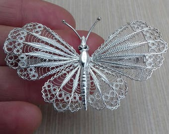 Filigree Vintage Brooch. Large Butterfly. Handmade Silver 925.gift for wife, gift for her, gift for mom, birthday gift