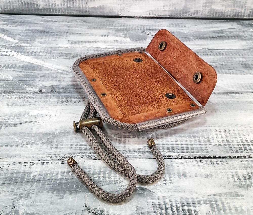 Horizontal leather ID card holder for men / ID badge holder leather ...
