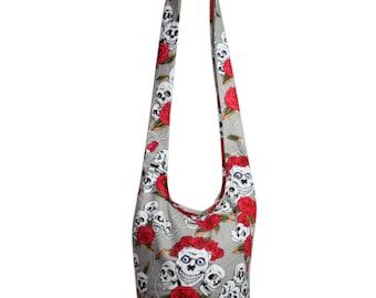 Skull Rose Hippie Bag Handmade Crossbody Bag Shoulder Sling Bag Messenger Bag Purse