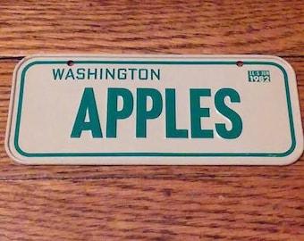 Washington Apples bike license plate 1982