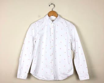 Vintage Polka Dot Blouse Size XS, White and Red Polka Dot Button Up