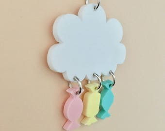 Raining Sweets Cloud Acrylic Necklace In Pastel