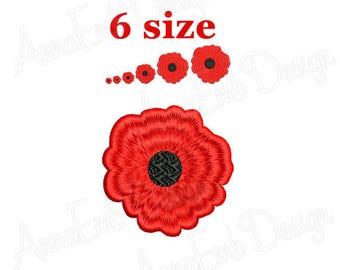 Poppy Embroidery Design. Mini Poppy. Machine Embroidery Design. Flower Small. Mini flower Embroidery Design.