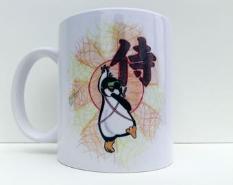 Ninja Coffee Mug, Penguin Coffee Mug, Samurai Mug, Japanese Mug, Cute Penguin Mug, Animal Mug, Penguin Novelty, Ninja Gift, Penguin Gift
