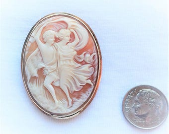"Vintage 14kt HEAVY Gold Genuine Carved Shell Cameo Adam Eve Brooch Pin 1-5/8"" Large 7.7g Victorian Woman Man Dancing 14k Estate Statement"