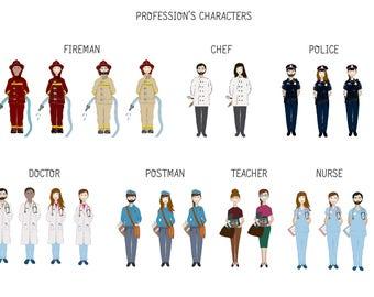 Profession's Characters/Clip Art/PNG/Illustration/Infographic/flyer/scrapbook/portrait/doctor/fireman/nurse/teacher/police/postman