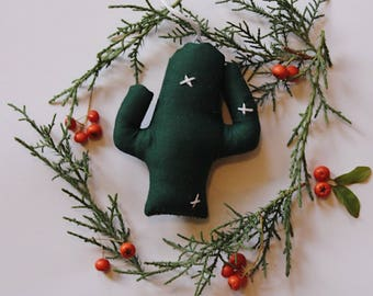 Cactus ornament in forest green
