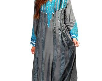 Grey silk and Velvet Arabic Dress