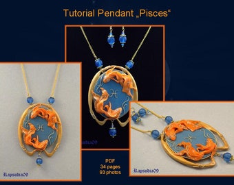 PDF tutorial pendant pisces Polymer clay pendant tutorial star sign Pendant tutorial Pisces pendant Polymer clay jewelry diy