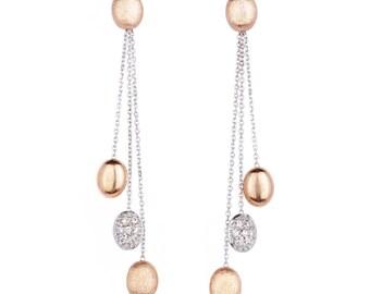 "14k gold dangling ""bean"" earrings"