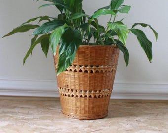 Bamboo, rattan, woven basket, plant pot, boho style