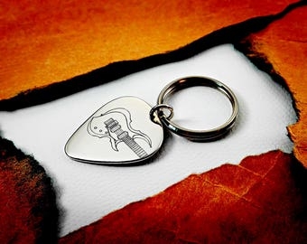 Can be personalized, Electric Guitar Keychain, Engraved Silver Guitar Pick, Engraveable Guitar Pick Pendant, Best Friend Guitar Keychain