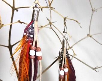 Adorable bohemian feather earrings