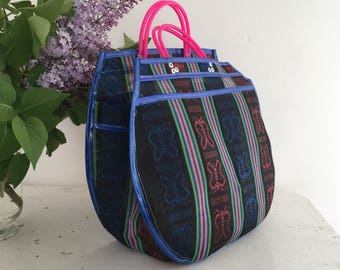 Tote L - Butterfly black/blue at night