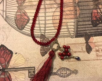 Crystal Ruby Red Necklace W/ Heart Pendant