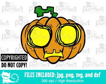 Halloween Pumpkin Afraid SVG, Digital Cut Files in svg, dxf, png and jpg, Printable Clipart