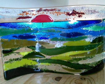 Glass landscape, fused glass landscape/ seascape, abstract art in fused glass, free standing glass landscape.