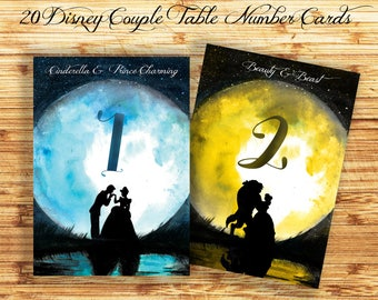 Disney Wedding Table Numbers , Disney Table Number Card, Disney Princess Wedding Cards, Disney Couple Silhouette Wedding Printables
