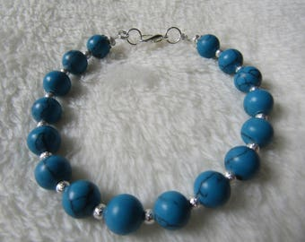 Blue Turquoise & Silver Stardust Semi Precious Bead Bracelet Gift Boxed