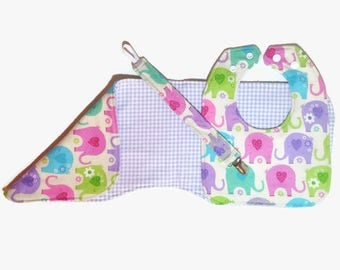Elephants, gingham, baby girl, bib, burp cloth, pacifier clip set, reversible, newborn, baby shower gift, baby gift, paci clip