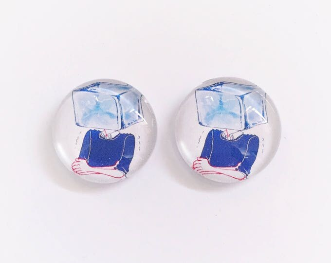 The 'Cooler Than Ice' Glass Earring Studs