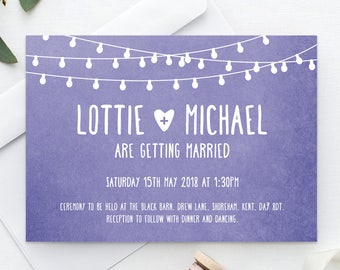 Printable Wedding Invitation | RSVP | Save the date | Thank you card | PDF | Download | Fairylights | Lilac | Watercolour | Lottie suite#002