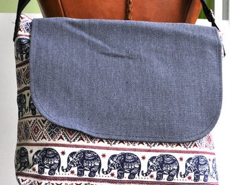 Canvas messenger bag blue elephant  school bag , messenger bag, cross body back, canvas shopping bag