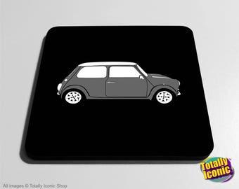 Mini Cooper Placemat - Classic Grey Mini Drinks Coaster Mat - Classic Mini - Mini Cooper - Austin Mini Car