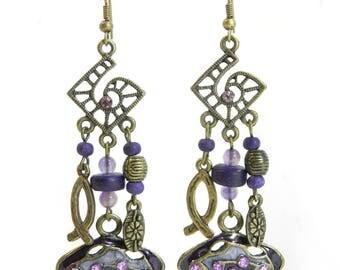 "Earrings ""Lucie"", hook bronze metal frame, made by hand."