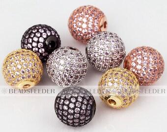 2/10pcs Shamballa round ball bead Micro Pave Bead,pink Cubic Zirconia CZ beads,Women Bracelet Charms,6mm/8mm/10mm/12mm/14mm/16mm