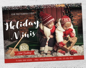 Holiday Mini Session Template, Christmas Mini Template, Christmas Marketing, Christmas Mini Session Template, Photoshop Template