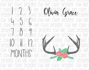 SVG DXF PNG cut file cricut silhouette cameo scrap booking Milestone Monthly Blanket Floral Antlers (Name Not Included)