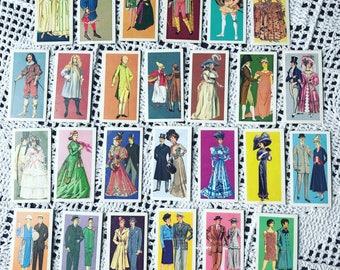 Vintage Brooke Bond Tea cards, British Costume, vintage art, 1960's set of 26 tea cards cigarette cards.