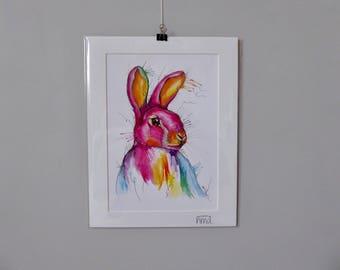 A3 Rabbit Watercolour Print - 250gsm