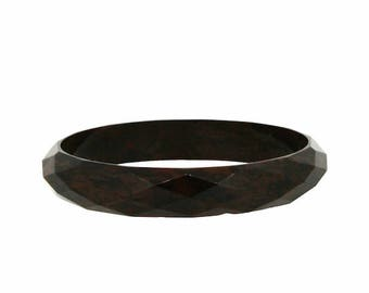 1930s Faceted Brown Celluloid Vintage Bangle